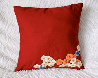 Red Floral Embroidered Throw Pillow With Insert