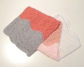 Modern Baby Blanket, Crochet Chevron Ombre Baby Blanket. Baby Blanket for Girls, Baby Girl Gift, Pink and Gray