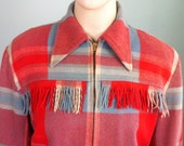Rare 1940's coral, off white and light blue plaid Siesta jacket with fringe size L / XL