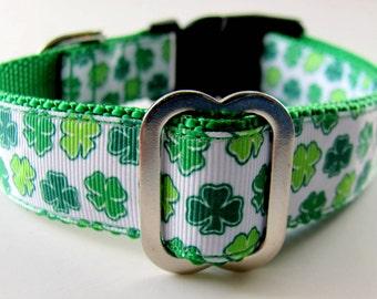 "Saint Patrick's  Dog Collar Irish Shamrocks 3/4"" or 1""  wide 1 Day Shipping for Holiday !!!"