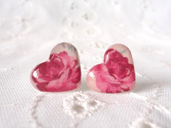 Rosebud Heart Studs