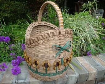 Round Sunflower Basket Handwoven