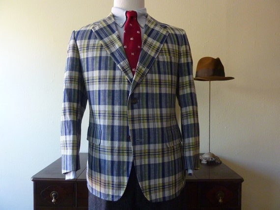 RARE Vintage Brooks Brothers Blue & Yellow Plaid Summer Sack Jacket 43 S. Made in USA.