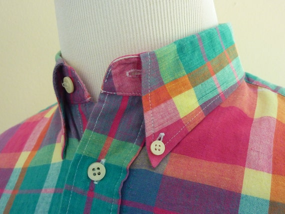 Vintage Genuine Handwoven INDIAN MADRAS 100% Cotton Button Down Collar Short Sleeved Casual Shirt M 15 1/4.