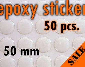 50pcs. 50mm Round Epoxy Sticker