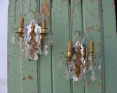 Light Up Your Life, with these stunning  mirror backed Vintage French wall Lights. A Pair.
