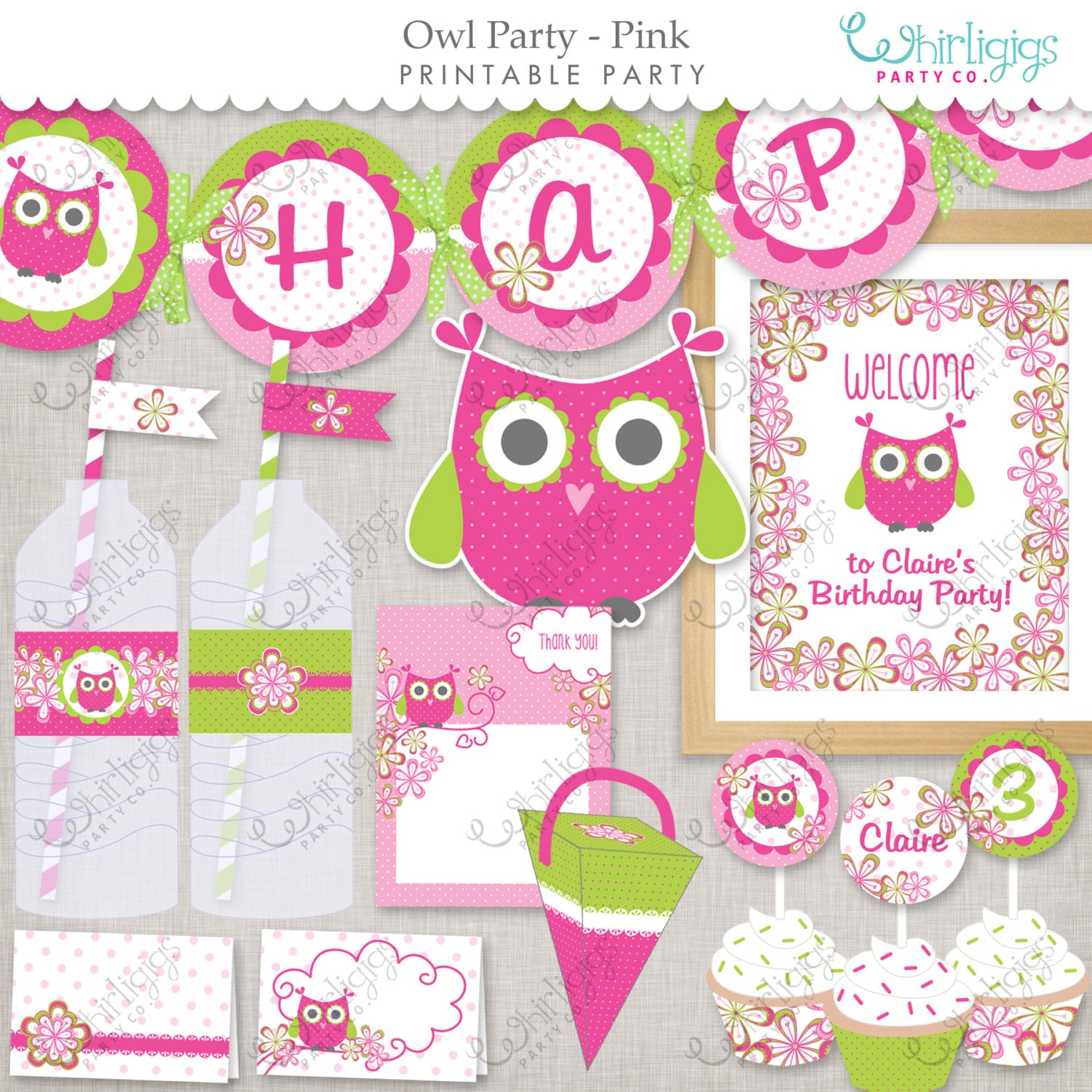Owl Party Pink Printable Party Supplies By Whirligigspartyco