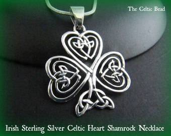 Large Sterling Silver Irish Heart Shamrock Celtic Necklace