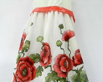 Red Poppies hand painted pure silk dress for girls. Red and  green floral pattern on white natural silk dress. Made to order.