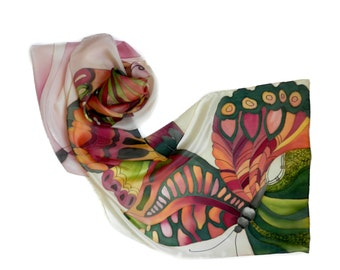 Magic butterflies  silk scarf. Red and green hand painted  butterflies.  Garnet , salmon, olive green  scarf.Gift for her. Made to order