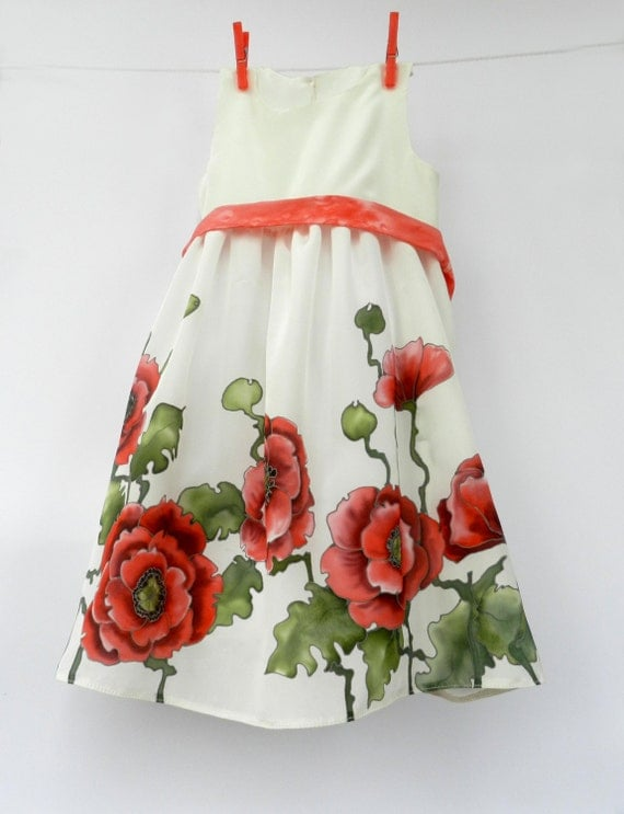 Red Poppies hand painted silk dress .Red, green and white. Gift for kids. Made to order.