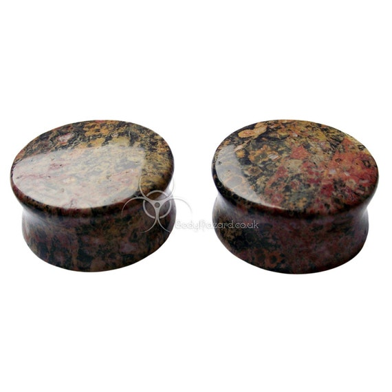 """Pair of 1"""" (25mm) Leopard Skin Jasper Stone Double Flared Ear Plugs Hand Made - Ready to Ship"""