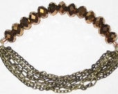 Beautiful Bronze Beaded Multi Chain Bracelet