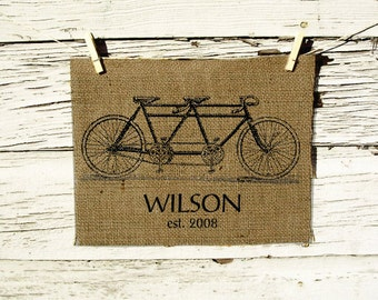 Customized Burlap Wall Decor Bicycle Built for Two - Personalized with Your Family Name and date