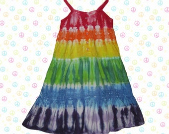 Girls sleeveless tie-dye rainbow dress with lace