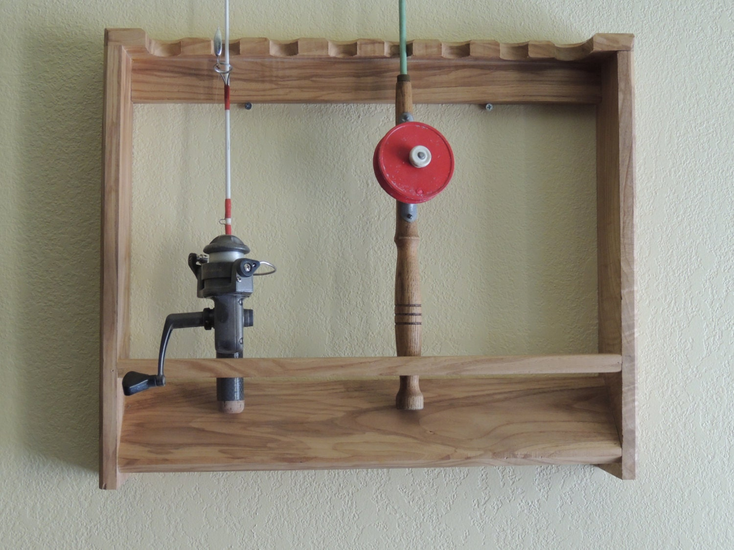 Ice fishing rod holder wall mounted rack for Wall fishing rod holder