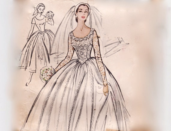 Vintage 50s Sewing Pattern Wedding Dress With Train Or