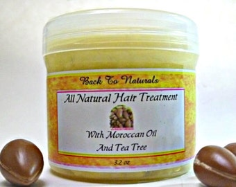 Natural Hair Conditioner With Argan Oil and Tea Tree - Hair Treatment with Raw Shea Butter - Natural Hair Moisturizer - Black Hair Care