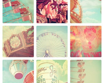 Carnival Photographs, Set of 9, 4x6 photos, vintage circus, shabby chic nursery decor, fPOE, ferris wheel, carousel, soft pastel color