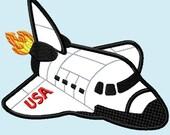 Shuttle Rocket Jet  APPLIQUE Embroidery Design 3 Sizes INSTANT DOWNLOAD