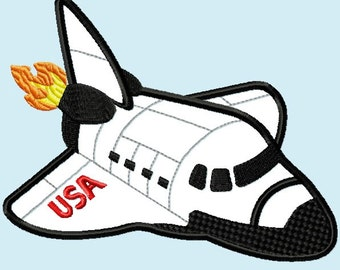 Shuttle Rocket Jet  APPLIQUE Embroidery Design 3 Sizes INSTANT DOWNLOAD