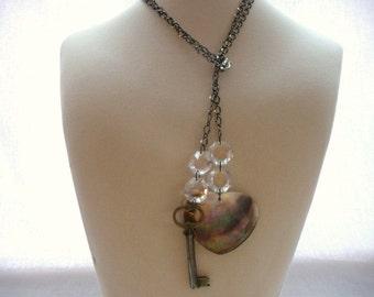 Heart Key Lariat, Gunmetal Jewelry, Chandelier Crystals