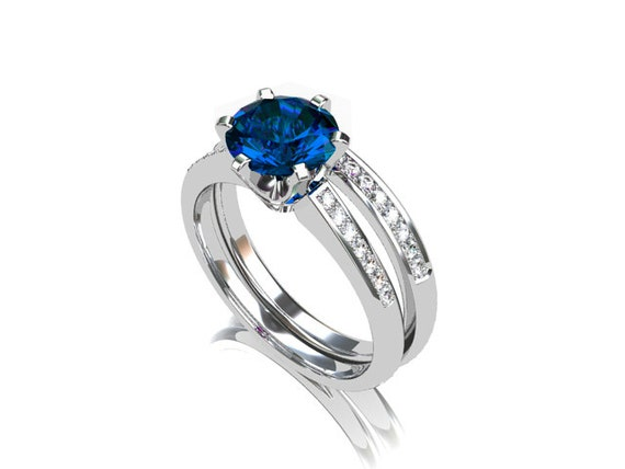 Engagement ring set london blue topaz diamond by for Blue topaz wedding ring sets