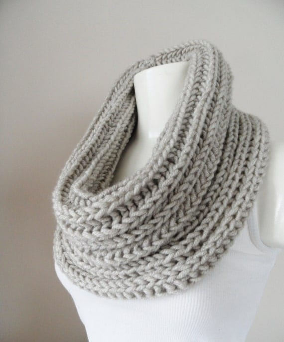 scarf, infinity scarf ,  neck warmers, . 2013 trends beige chunky loop scarf