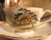 Antique Fujiyama hand painted Tea Cup and Saucer (not marked). Both trimmed with Gold Paint
