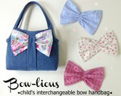 Bow-lious - Girl's Interchangeable Bow Bag  PDF Pattern Tutorial  Summer Purse Tote Accessory Easy Sew