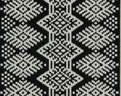 Black Ikat Upholstery Fabric - Black and White Ikat by the Yard - Furniture Material - Heavy Duty Fabric - Home Decor Black