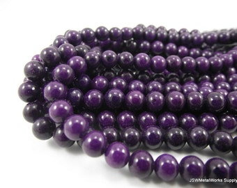 Mountain Jade Round Beads, Purple, 6mm, 16 Inch Strand, Whole Strand