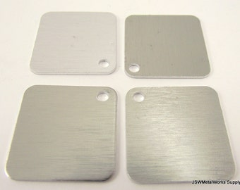 20 Anodized Aluminum Square Stamping Tags, Brushed Aluminum Dog Tags, Blank Stamping Tags
