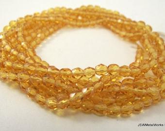 Gold Faceted Czech Fire Polish Glass Beads, 3mm, BULK, 300 beads