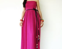 NO.107 Magenta Rayon Spandex Foldover Long Skirt Strapless Maxi Dress