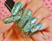 Clear Glitter Nail Polish - Upon the Ocean Floor - Full Size Bottle 0.5 oz Indie Franken Polish Top Coat
