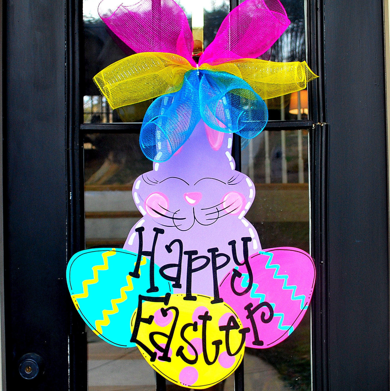 Easter bunny wreath door hanger