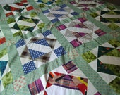 FREE SHIPPING/USA  -  Vintage Quilt Top 1950s Missouri Handmade Quilt Top
