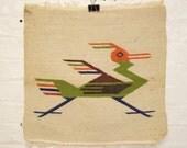Vintage Fringed Wool Southwestern Road Runner Rug Chimayo
