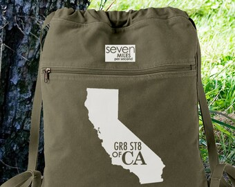 GR8 ST8 OF CA California Canvas Backpack Cinch Sack