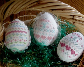 Cross Stitched Embroidered Easter Eggs