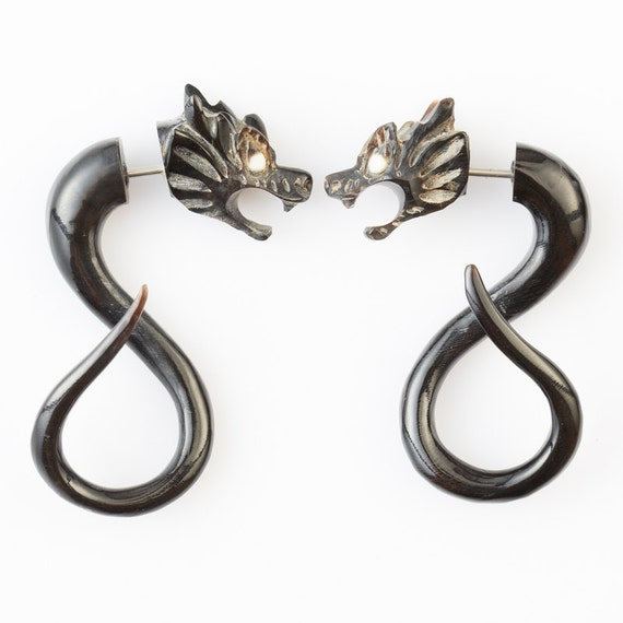 gauges that look like earrings earrings horn tribal earrings by 4884