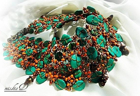 Reserved Turquoise Bib Necklace, December Birthstone, Freshwater Pearls Bib Necklace, Green Bib Necklace, Tribal Gemstone Necklace