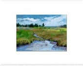 """ACEO Tidal marshes, meadows, pines ,spruce trees . Matted to fit 5"""" X 7"""" frame  Original  landscape painting  green and blue MAINE ART"""