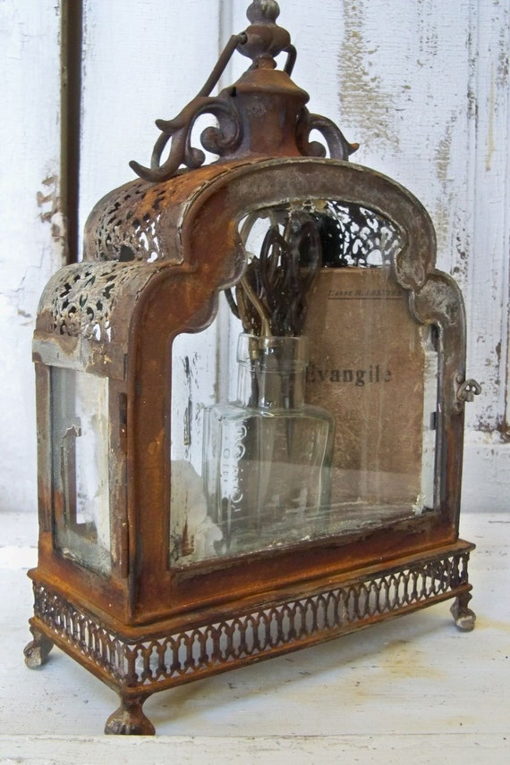 Glass And Metal Display Case Ornate Distressed Rusty