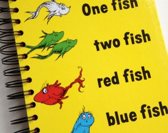 One Fish Two Fish Red Fish Blue Fish Dr. Seuss Beginner Books Recycled Journal Notebook