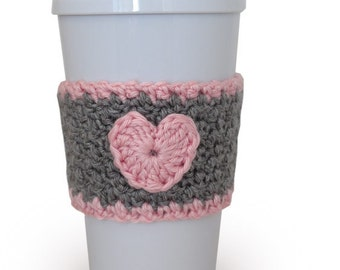 Crochet Heart Coffee Cup Cozy Gray and Pink