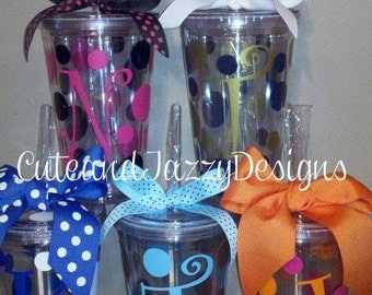 Set of 5 Personalized, 16 oz, Acrylic, BPA Free Tumblers w/ Straw