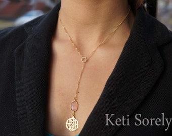Lariat Monogram Necklace with Gemstone - Amethyst, Turquoise, Pearl, Onyx, Ruby, Emerald, Rose Quartz - Monogram Necklace with Stone