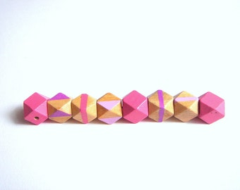 Hand painted  Geometric Mix Wood Beads,Do it Yourself Geometric necklace